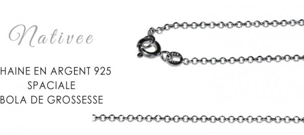 chaine argent 925 bola grossesse
